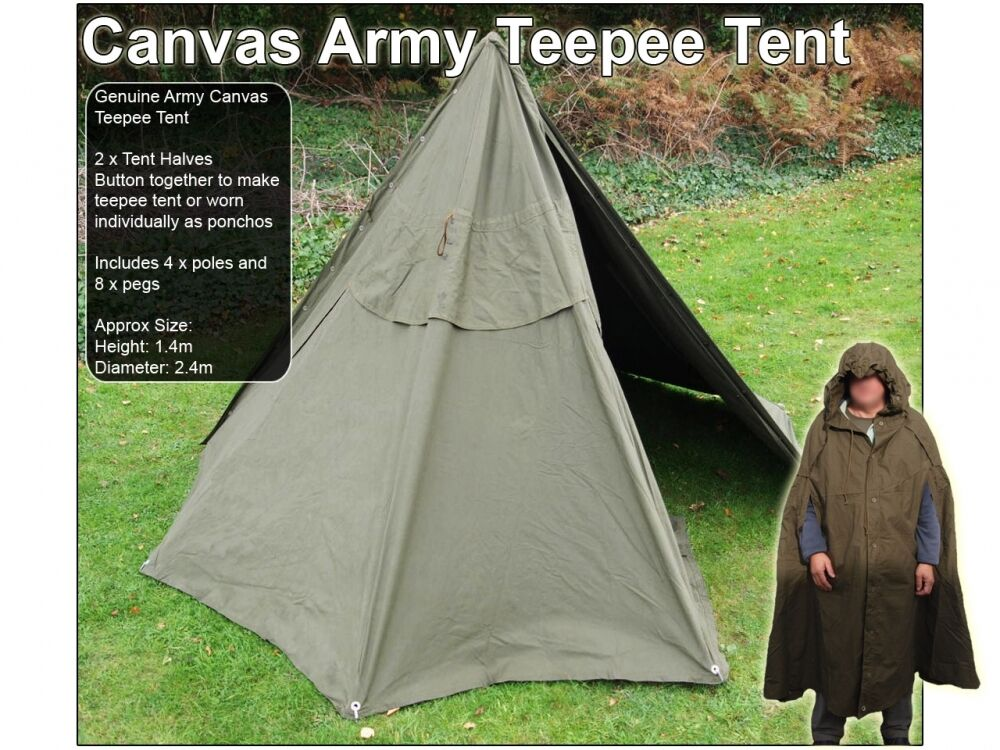 Genuine Polish Teepee Military Lavvu Bushcraft Army Canvas C&ing Survival Tent | eBay & Genuine Polish Teepee Military Lavvu Bushcraft Army Canvas Camping ...