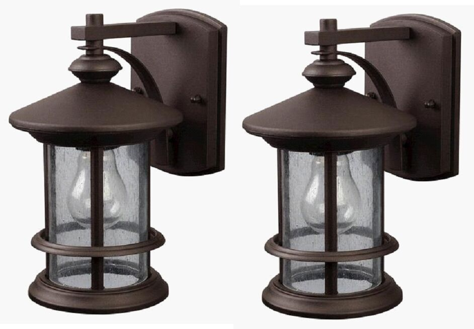 Mounting Height For Exterior Wall Sconces : 2 Pack Bronze Outdoor Wall Mount Lantern Lights Exterior Sconce Seeded Glass Lot eBay