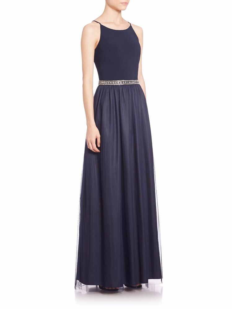 NEW Aidan Mattox Navy Blue Embellished Combo Gown Tulle Skirt NWT ...