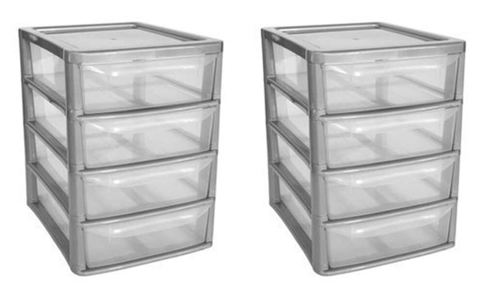 plastic storage drawers set of 2 plastic storage 4 drawer tower unit clear drawers 10510