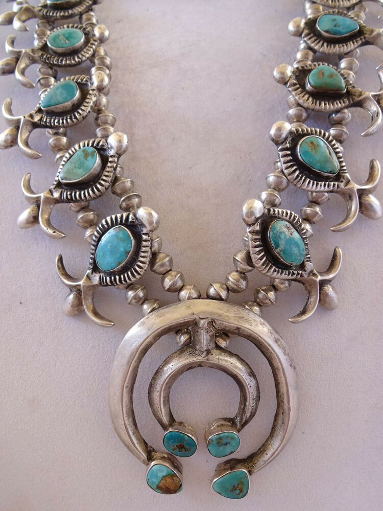 Vintage 1930s Navajo Cast Sterling Silver Amp Turquoise