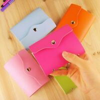 Candy Color Flip Leather ID Credit Card Wallet Case Bag Pouch Purse Holder