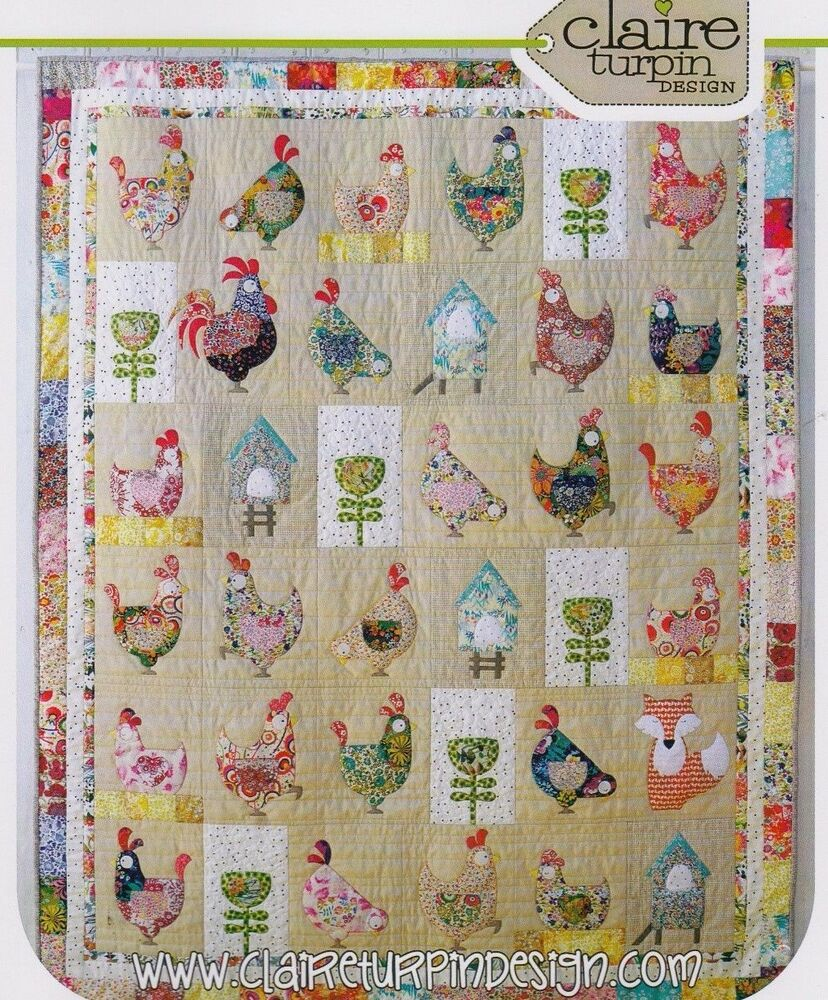 Hen house applique pieced quilt pattern claire for House pattern