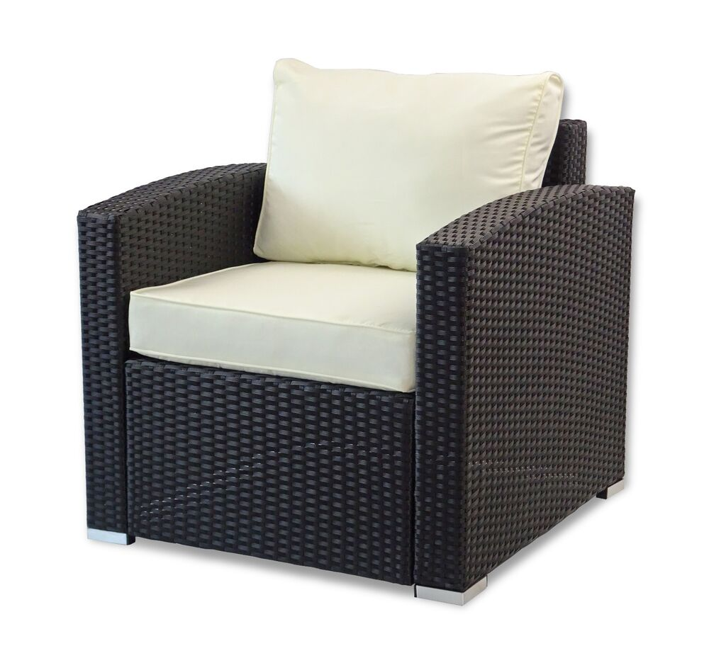 Outdoor Patio Lounge Arm Chair Resin Rattan Wicker W Cushions Color Black Ebay