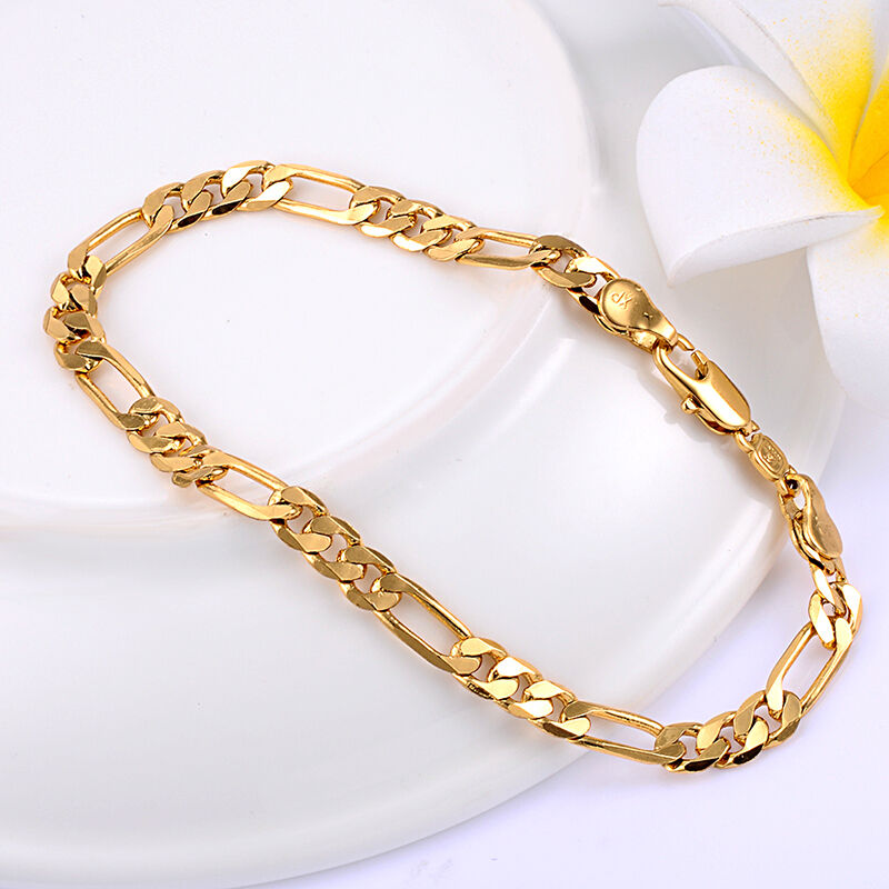 yellow gold plated mens figaro chain bracelet solid hip. Black Bedroom Furniture Sets. Home Design Ideas