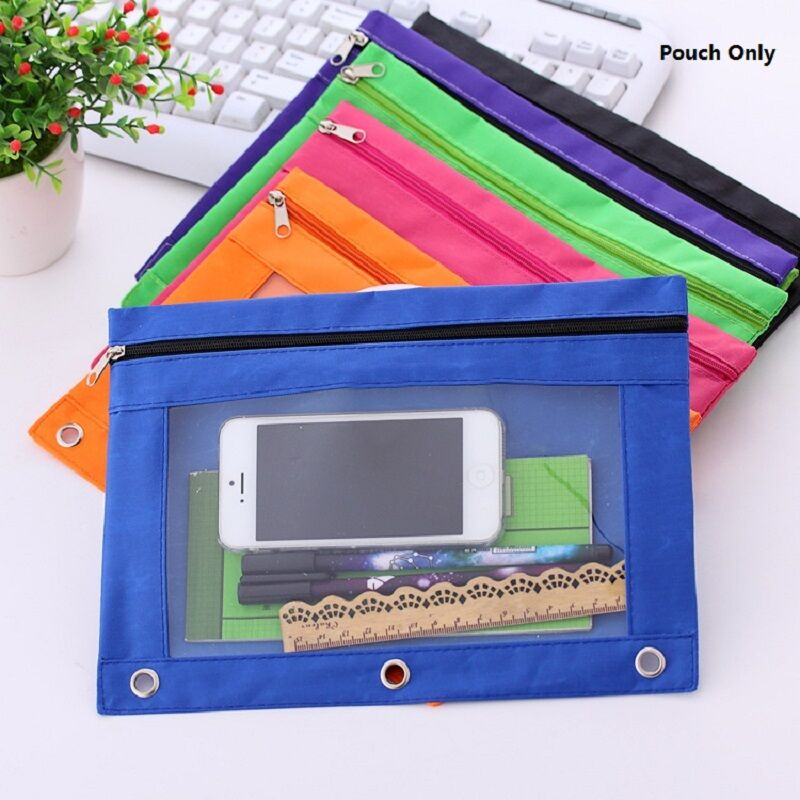 2pcs Zippered Binder Pencil Pouch With Rivet Enforced Hole