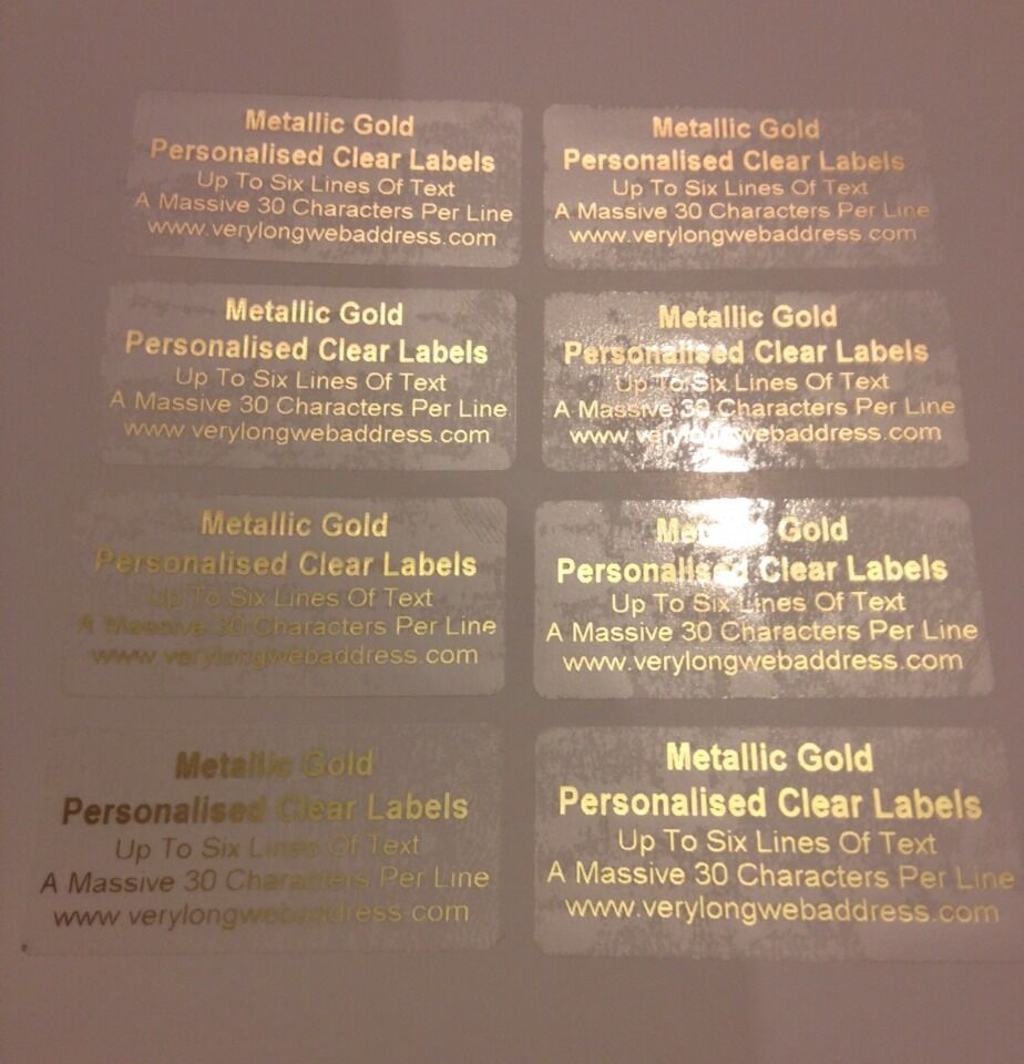 250 metallic gold personalised clear gloss stickers metallic gold print ebay