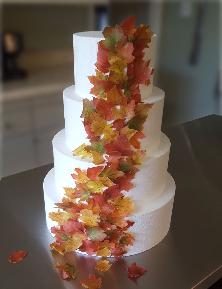 Edible Cake Decorations Holly Leaves : Edible Fall Leaves - Wafer Paper Decorations for Cakes ...