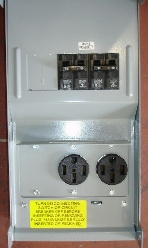 New Rv Power Outlet Box 50 50 2 50 Amp Power Outlets Outdoor Type Rainproof