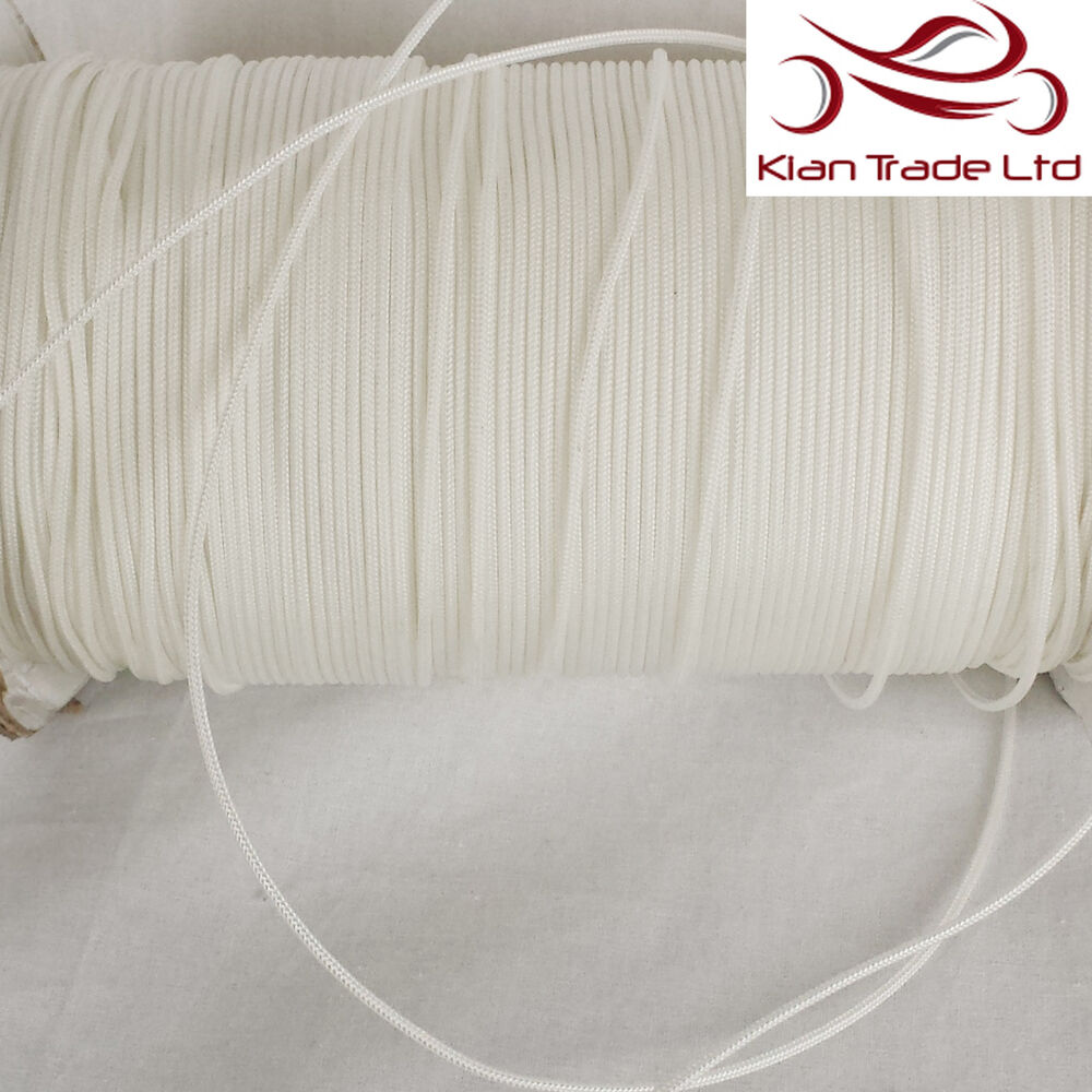 3mm POLYESTER Nylon BRAIDED WHITE CURTAIN BLIND PULL CORD