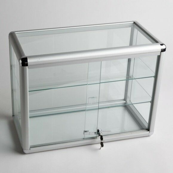 glass counter top aluminum frame locking jewelry display case w 2 shelves adc 2 ebay. Black Bedroom Furniture Sets. Home Design Ideas