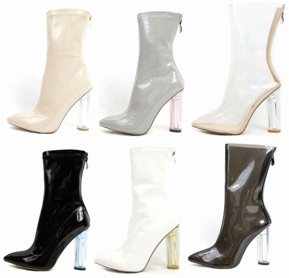 Clear Perspex Heel Ankle Boot Bootie Shoe