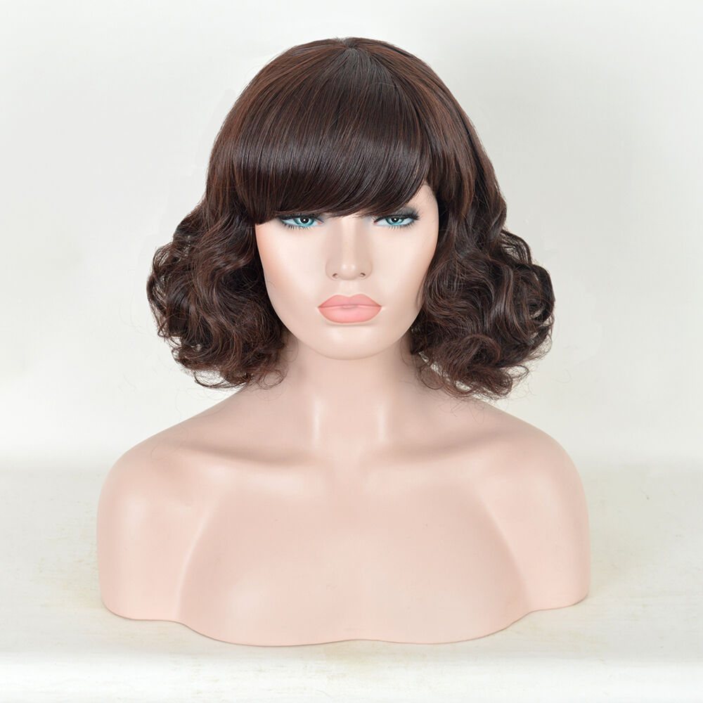 Details about Drag Queen Women Short wig Bob Big Bun Messy Curls Back Dark  Brown Hair Wigs 0e9ceca0b8f6