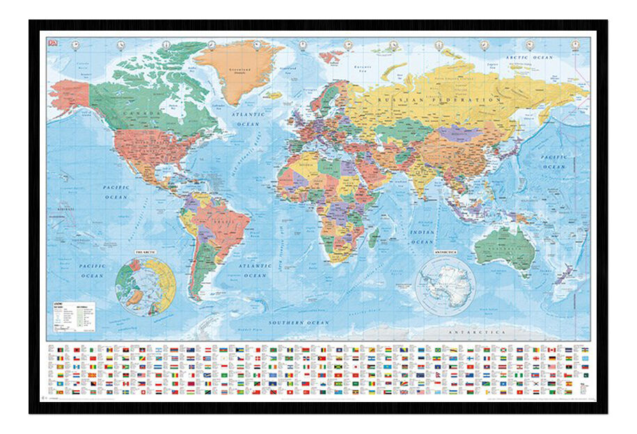 world map with flags and facts framed cork pin notice