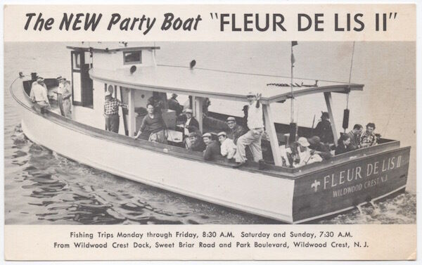 Postcard 53 foot party boat fleur de lis ii in wildwood for Wildwood nj fishing charters