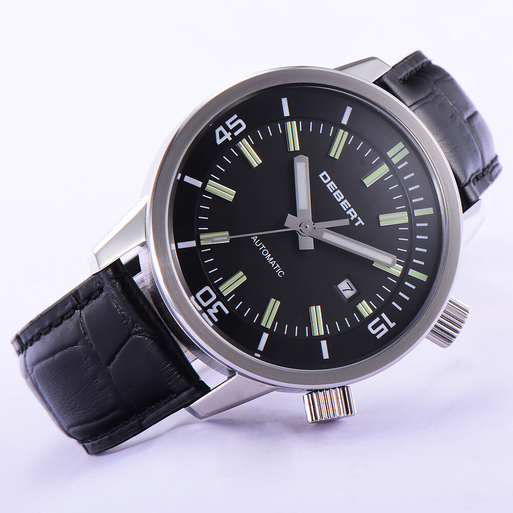 44mm debert black dial steel case automatic miyota 821a movement men watch 031 744750258372 ebay for Auto movement watches