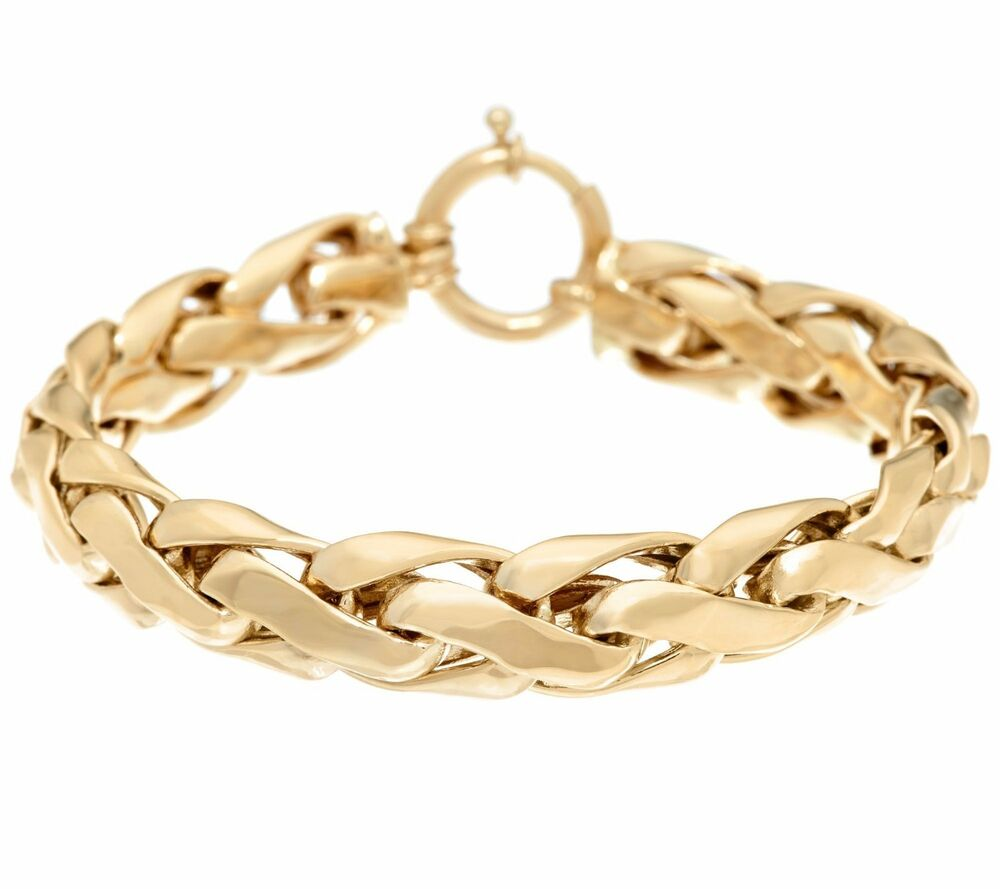 Polished Bold Woven Wheat Spiga Bracelet Real 14k Yellow