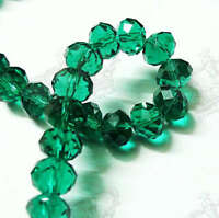 40pcs 7x10mm Dark Green Faceted Rondelle Crystal Glass Loose Beads