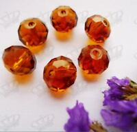 40pcs 7x10mm Amber Brown Faceted Crystal Glass Rondelle Loose Gem Beads