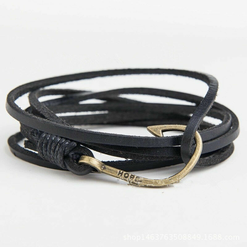 genuine leather fish hook brown bracelet wrap cuff rope