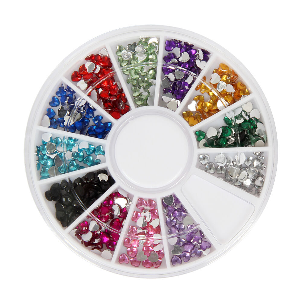 12 color nail art rhinestones gems 3d nail art decorations for 3d nail art decoration