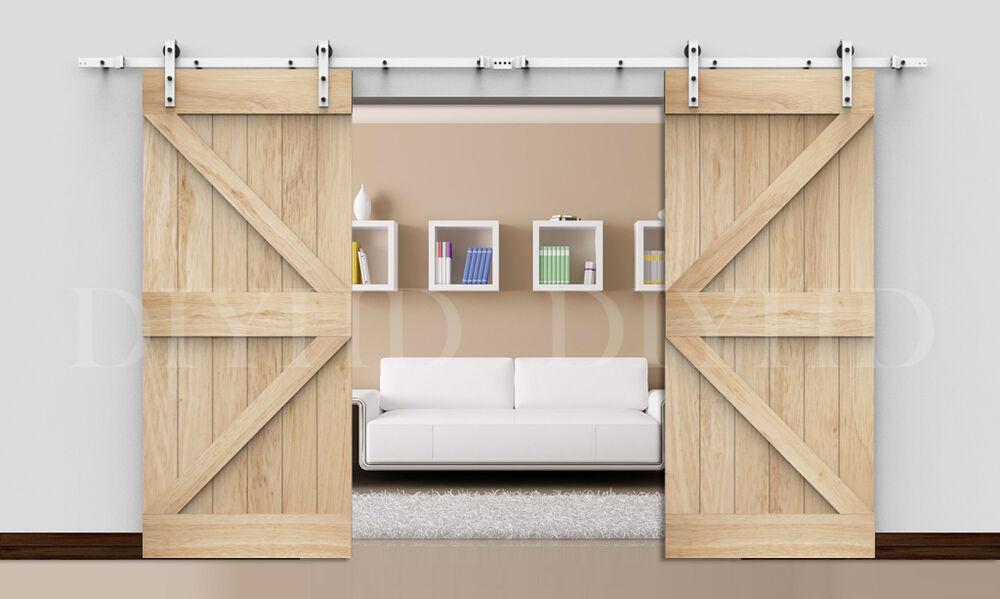 8 10 12ft whitecolor double sliding barn door hardware for Rustic hardware barn doors