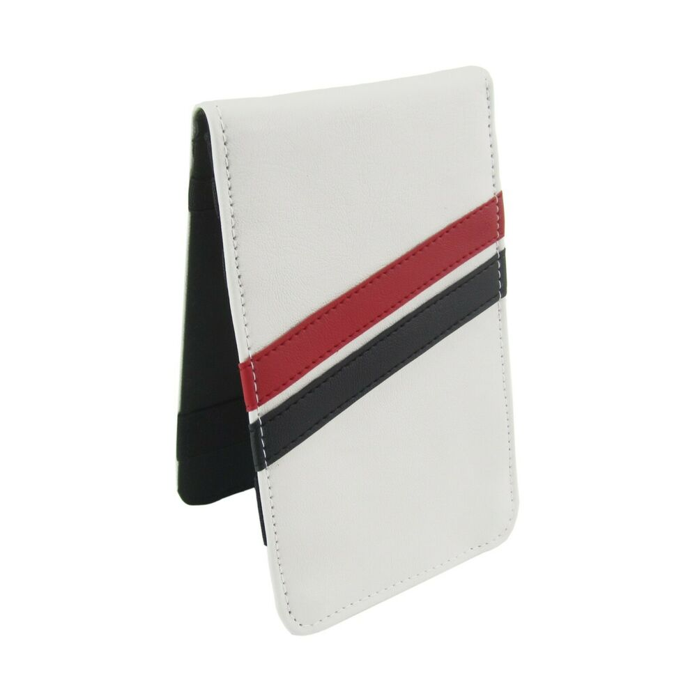 Cookbook Holder With Cover : Sunfish white red and black leather golf scorecard