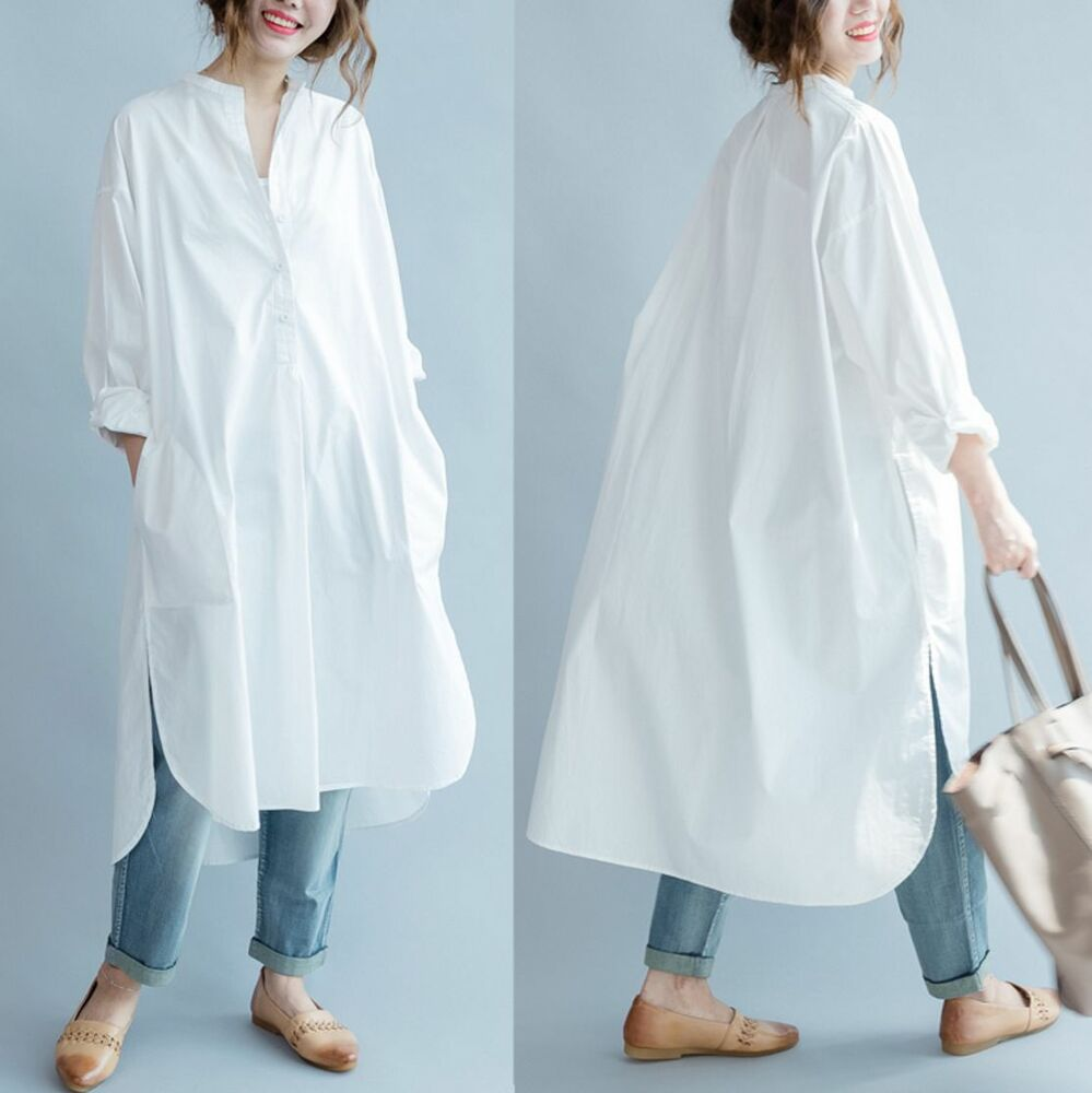 Qe2 casual maxi loose fit hi low 100 cotton women long for Womens button down shirts fitted