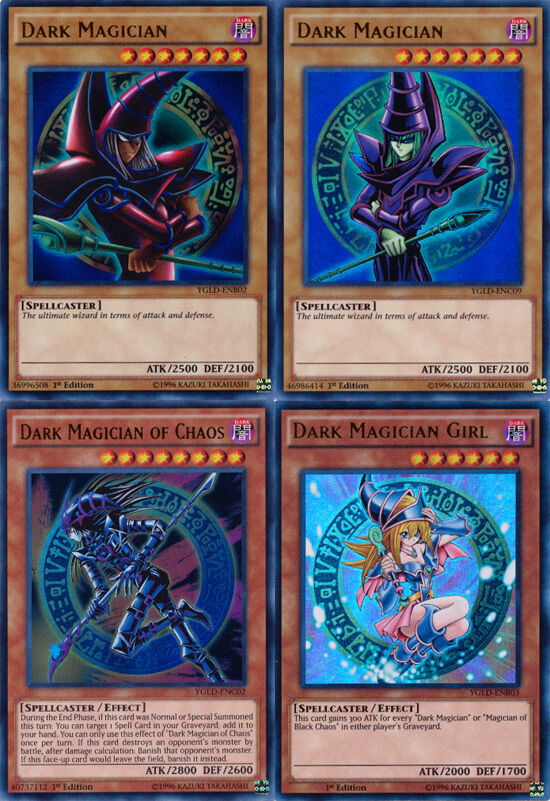 Set of 4 YuGiOh YGLD Dark Magician cards Dark Magician ...