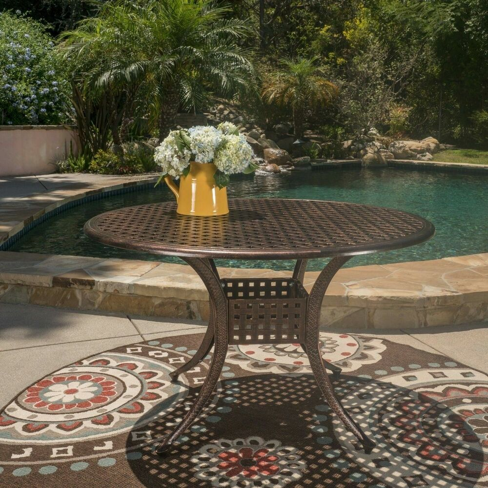 Nalbor Outdoor Shiny Copper Cast Aluminum Circular Table