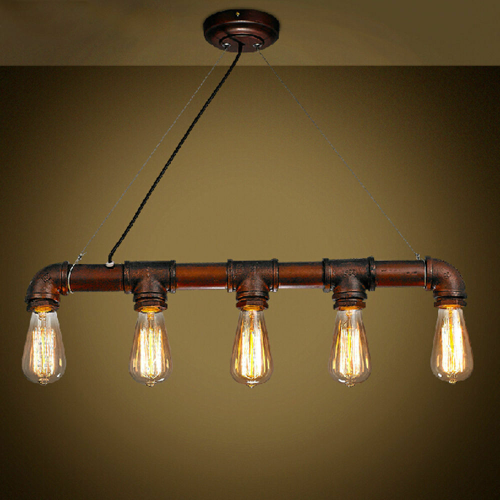 5 heads edison industrial steampunk pendant iron pipe for Iron pipe ceiling light