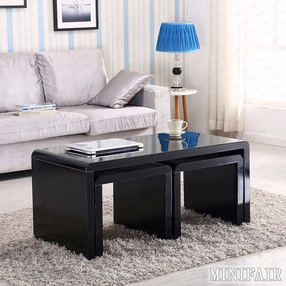 High gloss black coffee table side end nested tables set for High end coffee tables living room