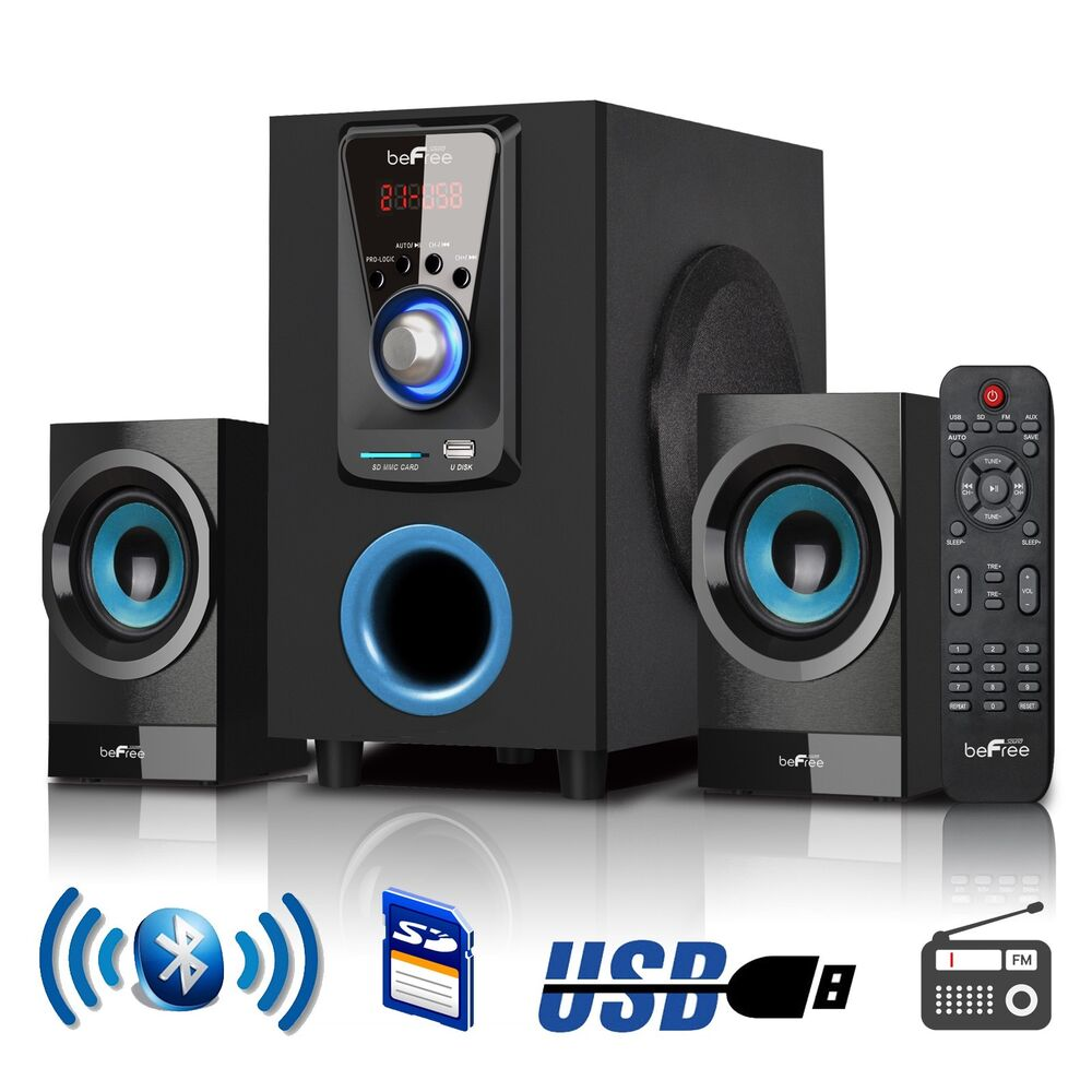 befree 2 1 channel surround sound bluetooth mini stereo system remote brand new ebay. Black Bedroom Furniture Sets. Home Design Ideas