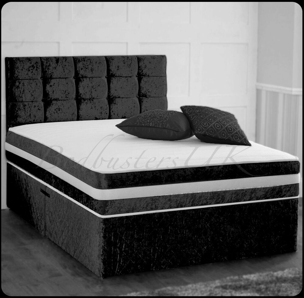Crushed velvet divan bed with under bed storage for Velvet divan bed frame