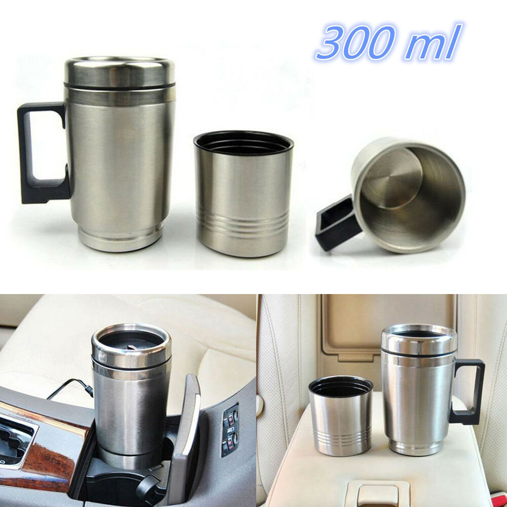 DC 12V Stainless Steel Travel Heated Thermos Coffee Tea ...