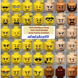 Kyпить LEGO - MALE Minifigure Heads - PICK YOUR STYLE - Yellow Flesh Faces People Town  на еВаy.соm