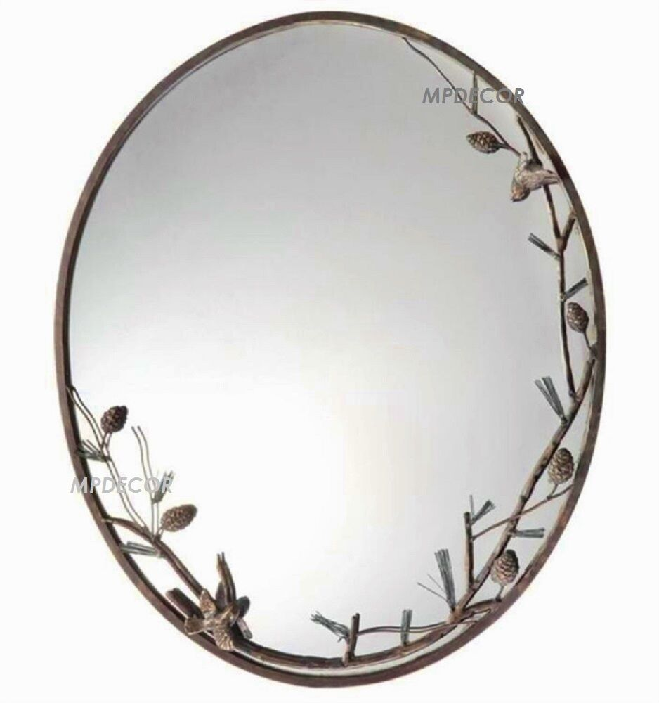 Pinecone branch birds oval wall mirror rustic cabin lodge decor metal frame ebay - Oval wall decor ...