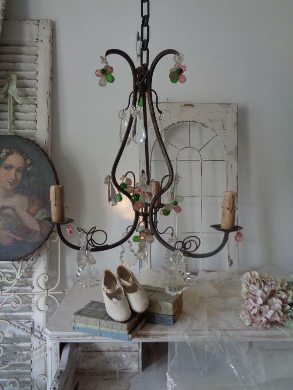 alte deckenlampe eisen frankreich shabby chic ebay. Black Bedroom Furniture Sets. Home Design Ideas