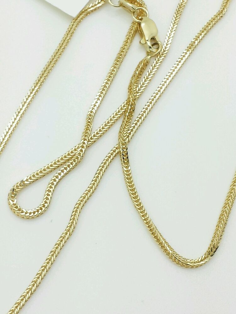 14k Solid Yellow Gold Foxtail Square Box Wheat Necklace