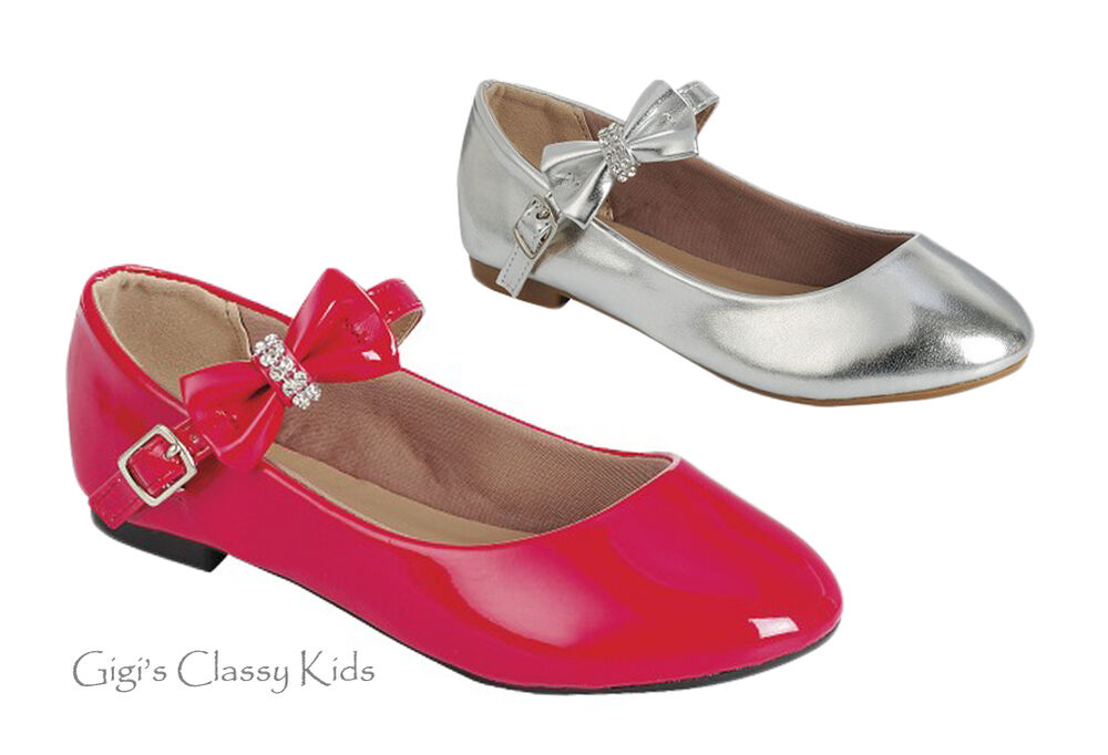 New Girls Toddler Youth Red Silver Dress Shoes Flats Mary ...