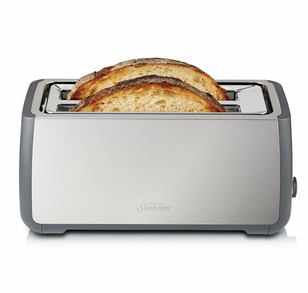 sunbeam long slot 4 slice toaster for a variety of bread. Black Bedroom Furniture Sets. Home Design Ideas