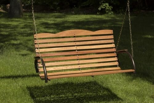 New 4 Ft Premium Hardwood Wooden Porch Swing Bench Seat