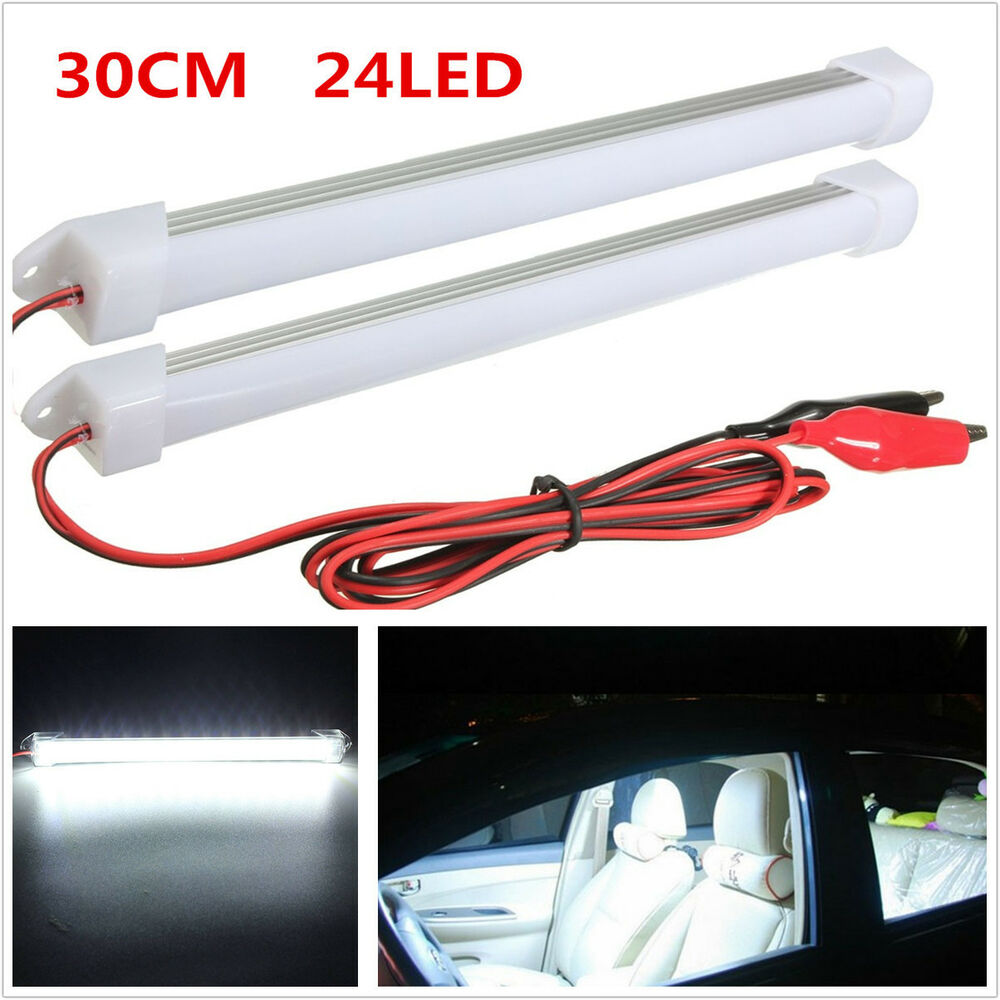 2x white car suv led smd interior light bar tube strip lamp van boat caravan ebay. Black Bedroom Furniture Sets. Home Design Ideas