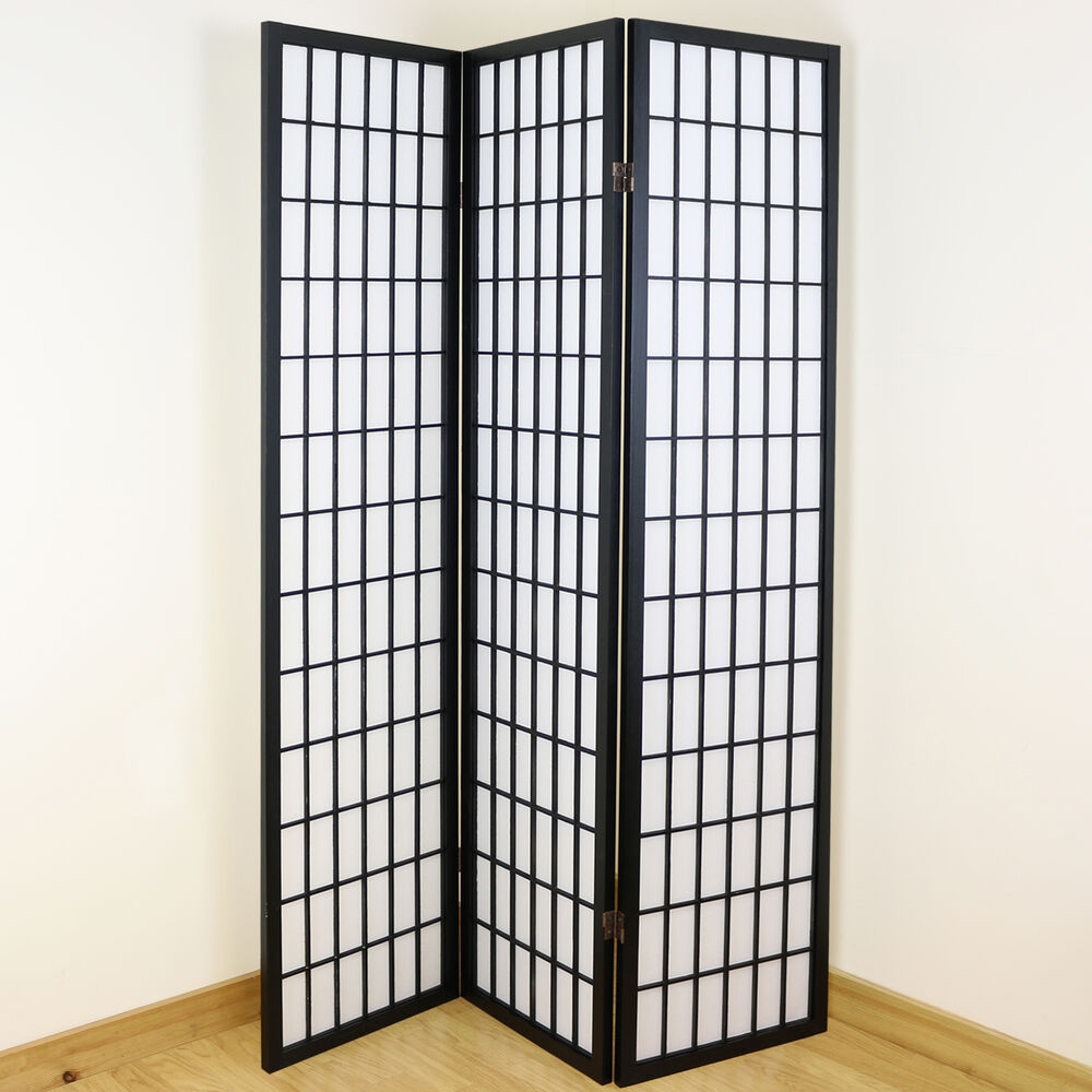 Black White 3 Panel Shoji Folding Privacy Screen Japanese Wooden Room D