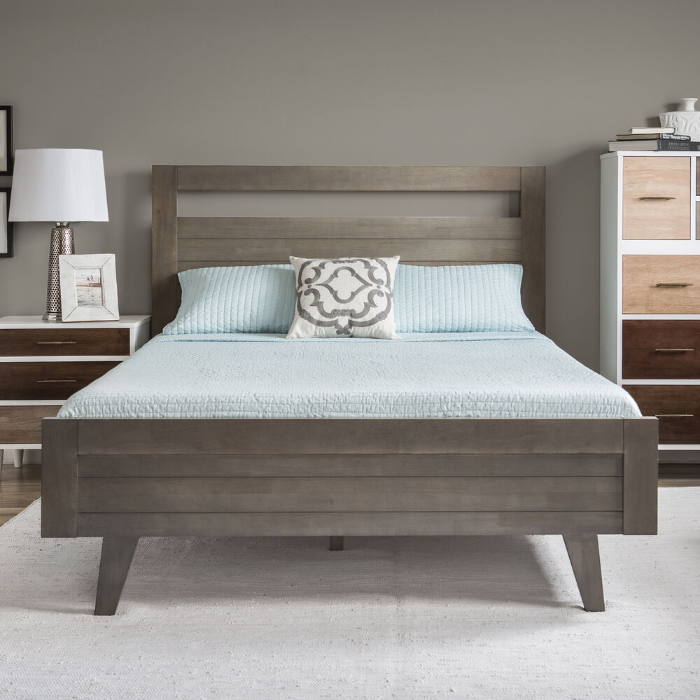 Platform Bed Queen Modern Mid Century Grey Gray Wood