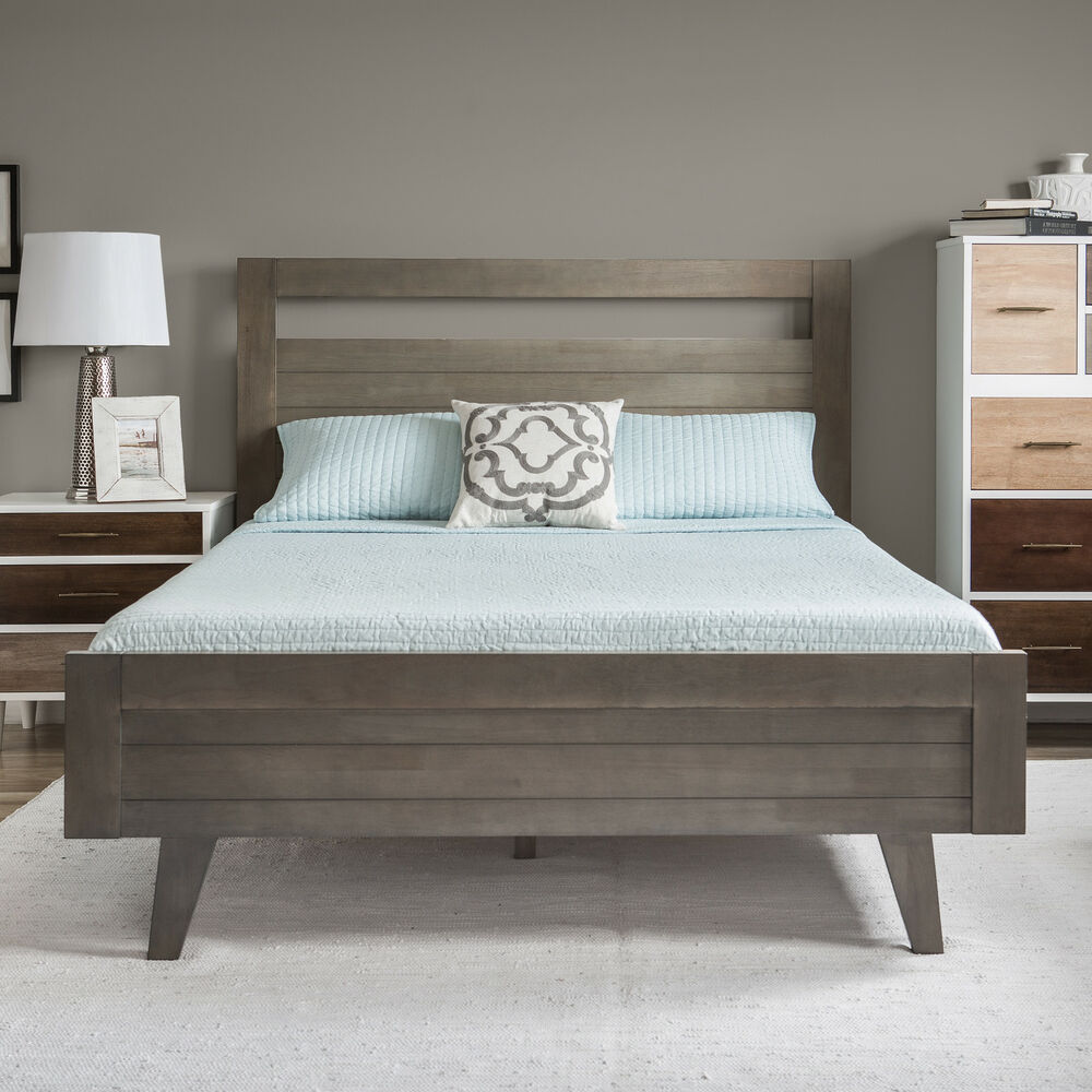 Platform bed queen modern mid century grey gray wood Gray bedroom furniture