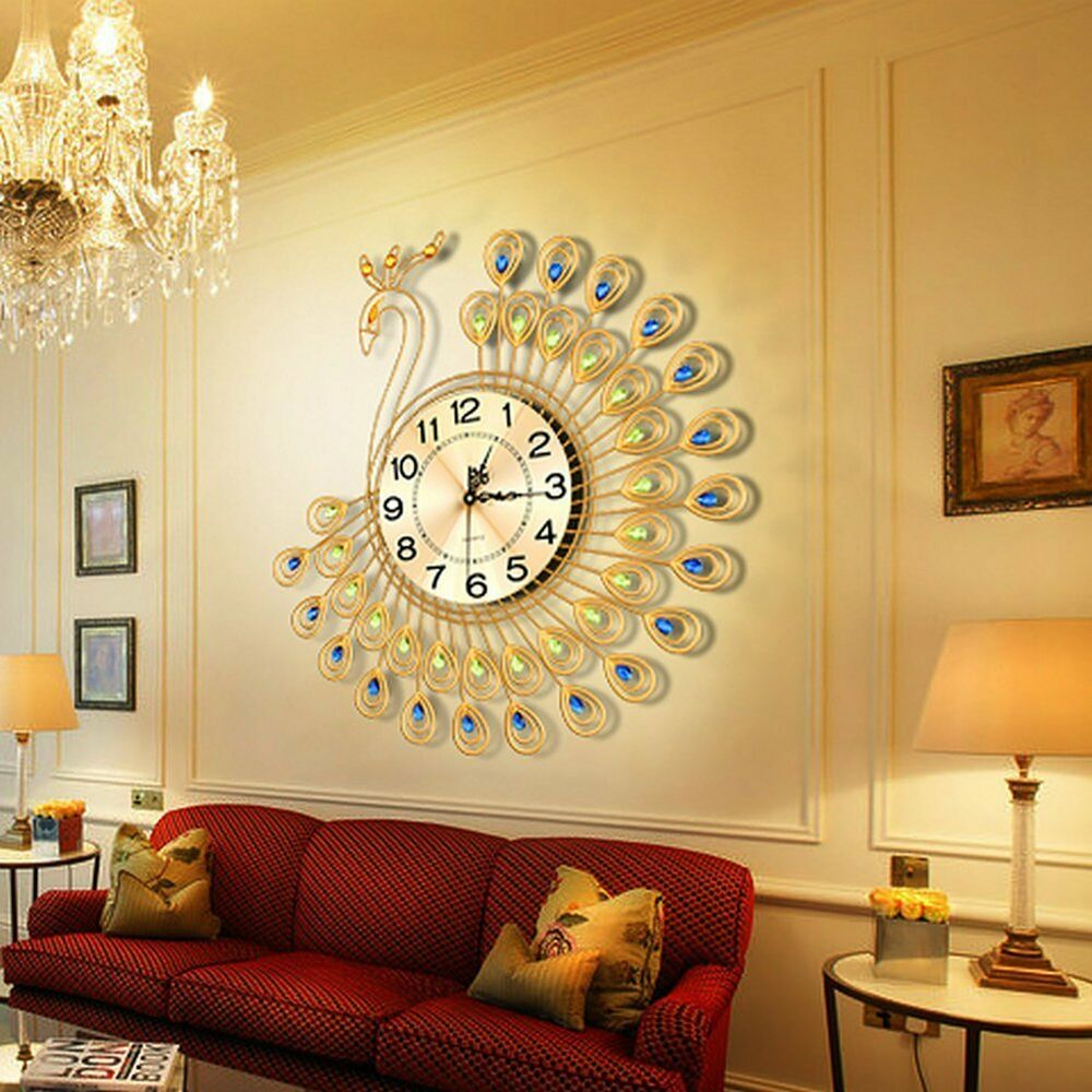 Us creative gold peacock large wall clock metal living for Gold home decorations