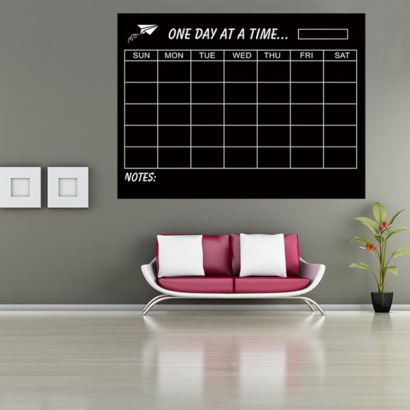 Week planner chalkboard wall sticker removable decal home for Home decor planner