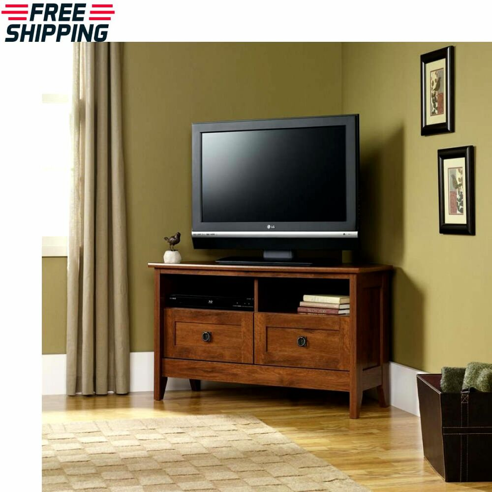 Corner tv media stand entertainment console wood furniture for Tv media storage cabinet