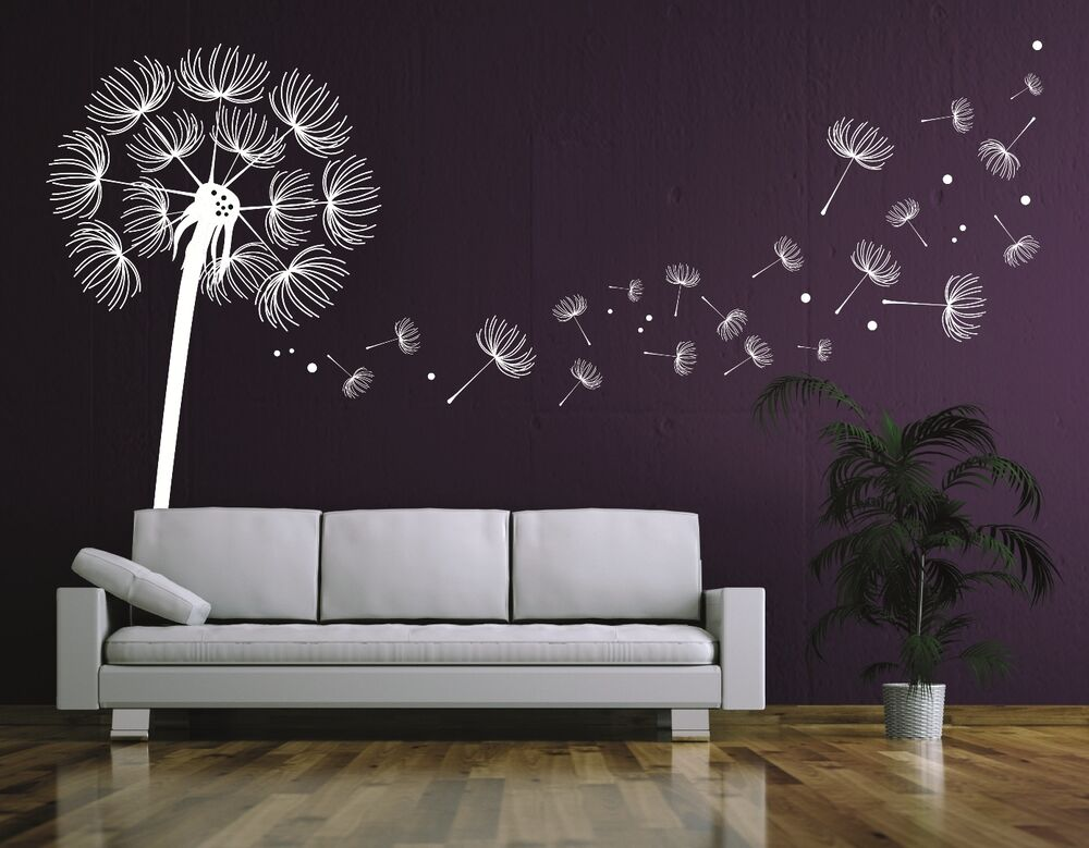 wandtattoo pusteblume wandtatoo wohnzimmer flur blume bl ten pusteblumen pkm11 ebay. Black Bedroom Furniture Sets. Home Design Ideas
